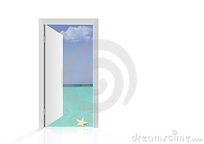 Isolated open door to beach Stock Photo