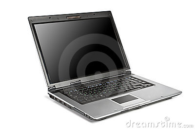 Isolated opened laptop