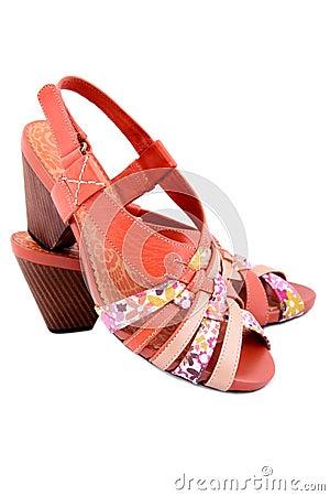 Isolated orange shoes