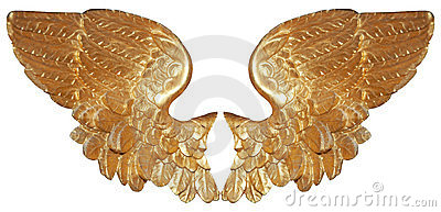 Isolated pair of aureate angel wings