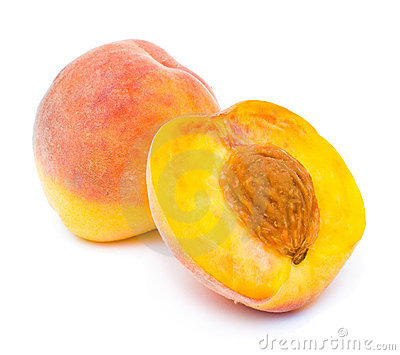 Isolated peach and its half