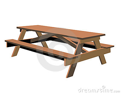Isolated Picnic Table Royalty Free Stock Photography - Image: 5858087