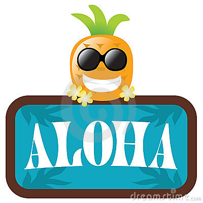 Free Isolated Pineapple With Aloha Sign Stock Image - 9945851
