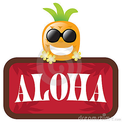 Free Isolated Pineapple With Red Aloha Sign Stock Image - 10883441