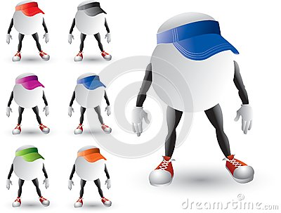 Isolated ping pong ball characters with visors