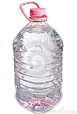 Isolated pink five liter bottle of water