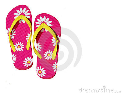 Isolated Pink Flip Flops