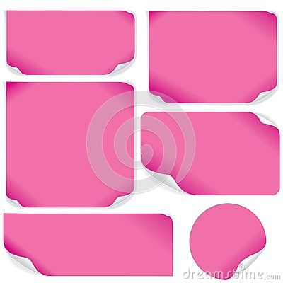 Isolated Pink Paper Sheets. Vector Pack.