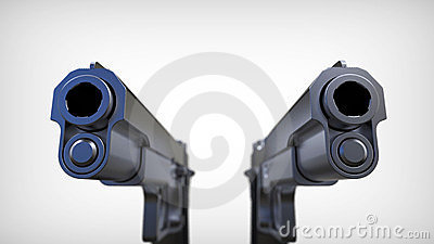 Isolated pistols on white background.