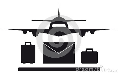 Isolated plane, envelope and luggage