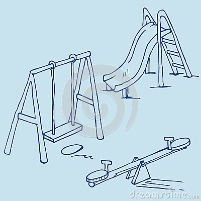 Isolated playground objects on blue