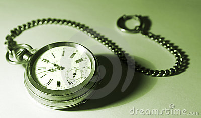 Isolated pocket watch with a chain, tinted green