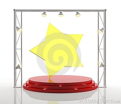Isolated podium with star on white background