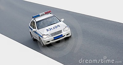 Isolated police car on road
