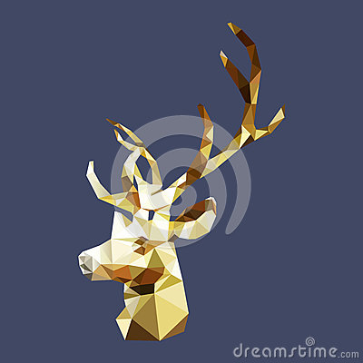 Free Isolated Polygonal Golden Stag, Geometric Polygon Deer Animal Stock Images - 83356854
