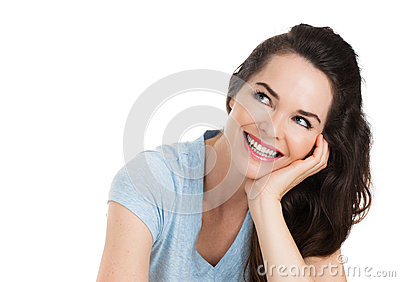 Isolated portrait of happy woman