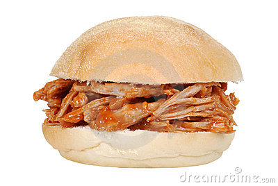 Isolated pulled pork sandwich