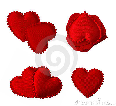 Isolated quilted fabric hearts
