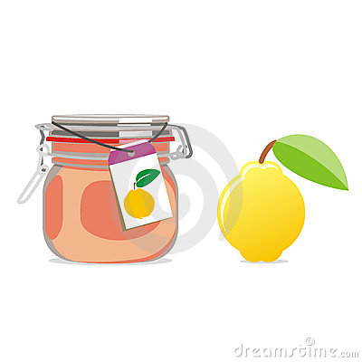 Isolated quince jam jar and fruit