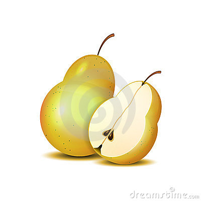 Isolated realistic sliced pears for your design