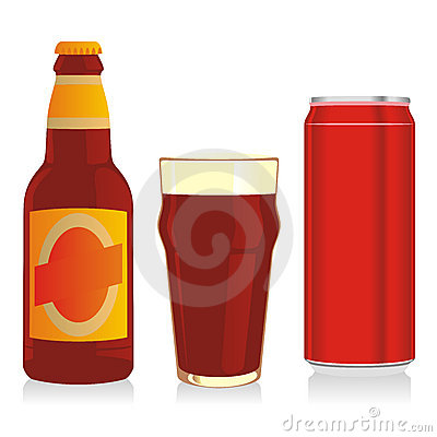 Isolated red beer bottle, glass and can