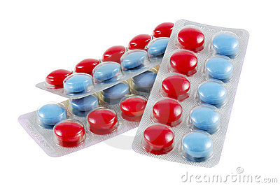 Isolated red and blue tablets in boundle