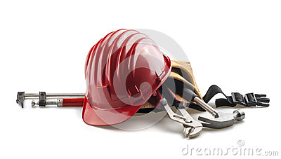 Isolated red hard hat with tools on white