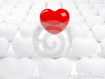 Isolated red heart and many white hearts