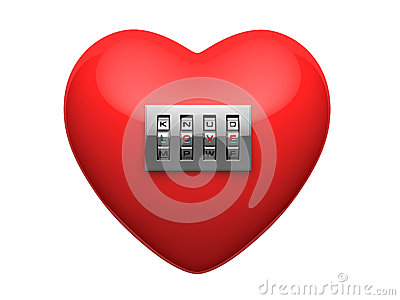 Isolated red heart with shiny metal code padlock