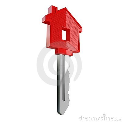 Isolated red house key
