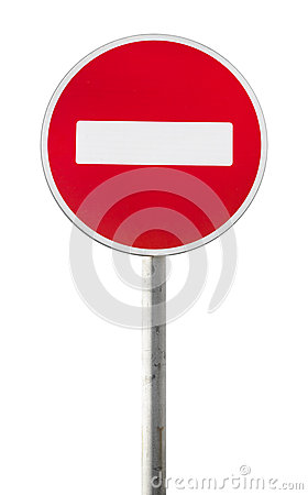 Free Isolated Red Road Sign On Metal Pole. No Entry Stock Photos - 72051633