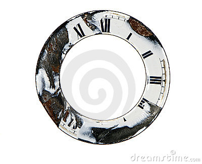 Isolated retro and cracked clock dial