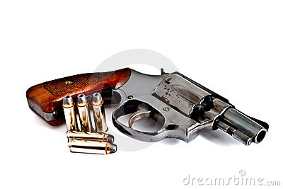 Isolated revolver handgun with bullet