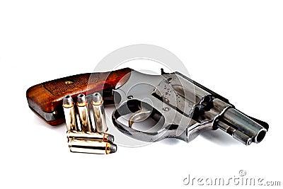 Isolated revolver handgun with bullet
