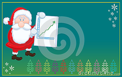 Isolated Santa Claus with positive chart  christma
