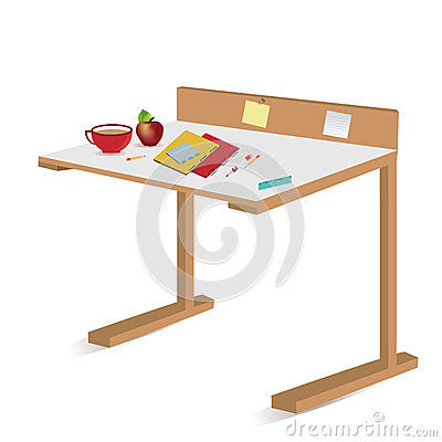Isolated school desk with notebooks and pencils