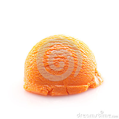 Isolated scoop of orange ice cream