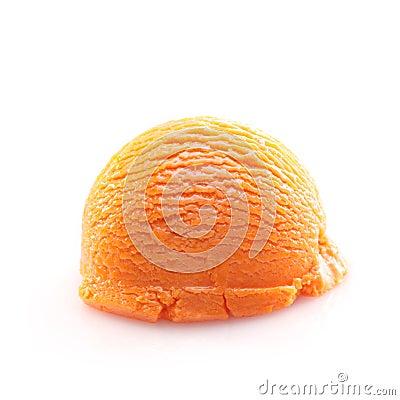 Isolated scoop of orange ice cream