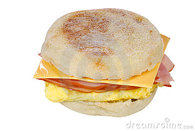 Isolated Scrambled egg ham cheese sandwich