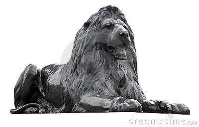 Isolated sculpture of a Trafalgar Square lion