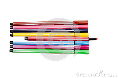Isolated set of colored felt-tip pens on white