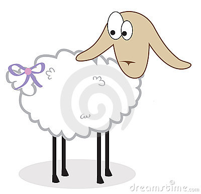 Isolated sheep with a bow on a tail. Vector illust