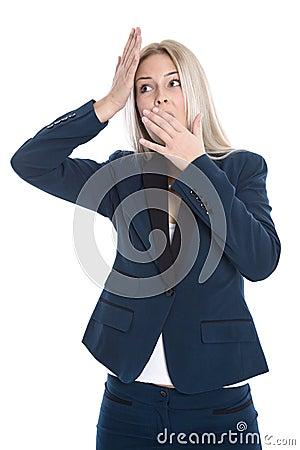Isolated shocked blond secretary with hands up on white backgrou