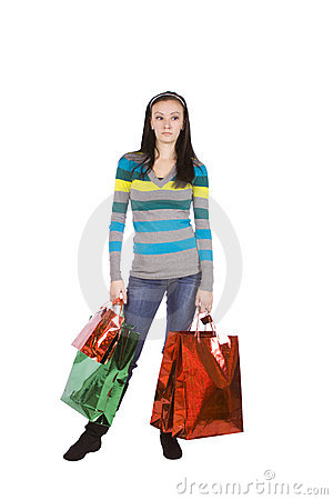 Isolated shot of a Beautiful Girl with Shopping