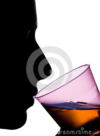 Isolated Silhouette of a Woman Drinking Orange Liquid