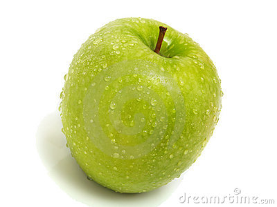 Isolated single fresh green apple