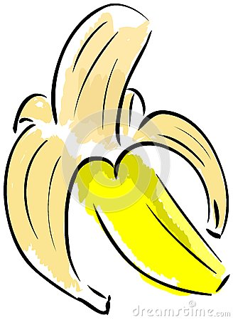 Isolated sketch of a Peeled banana