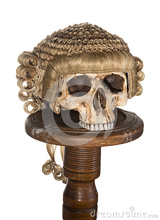 Isolated skull with court wig