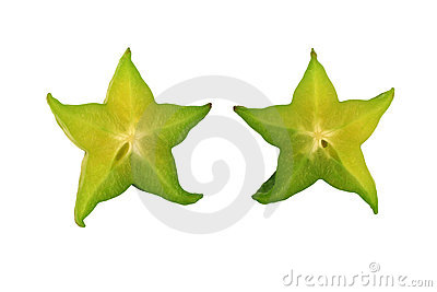 Isolated sliced Star fruit on white background