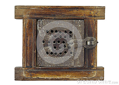 Isolated small antique wood and metal opening gate